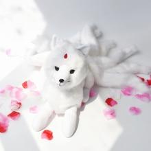 Süper sevimli yumuşak beyaz kırmızı dokuz kuyrukları tilki peluş oyuncak doldurulmuş hayvanlar dokuz kuyruklu tilki Kyuubi Kitsune bebek yaratıcı hediyeler kızlar için