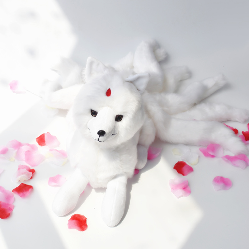 Super Cute Soft White Nine Tails Fox Plush Toys Stuffed Animals Nine-Tailed Fox Kyuubi Kitsune Dolls Creative Gifts for Girls image