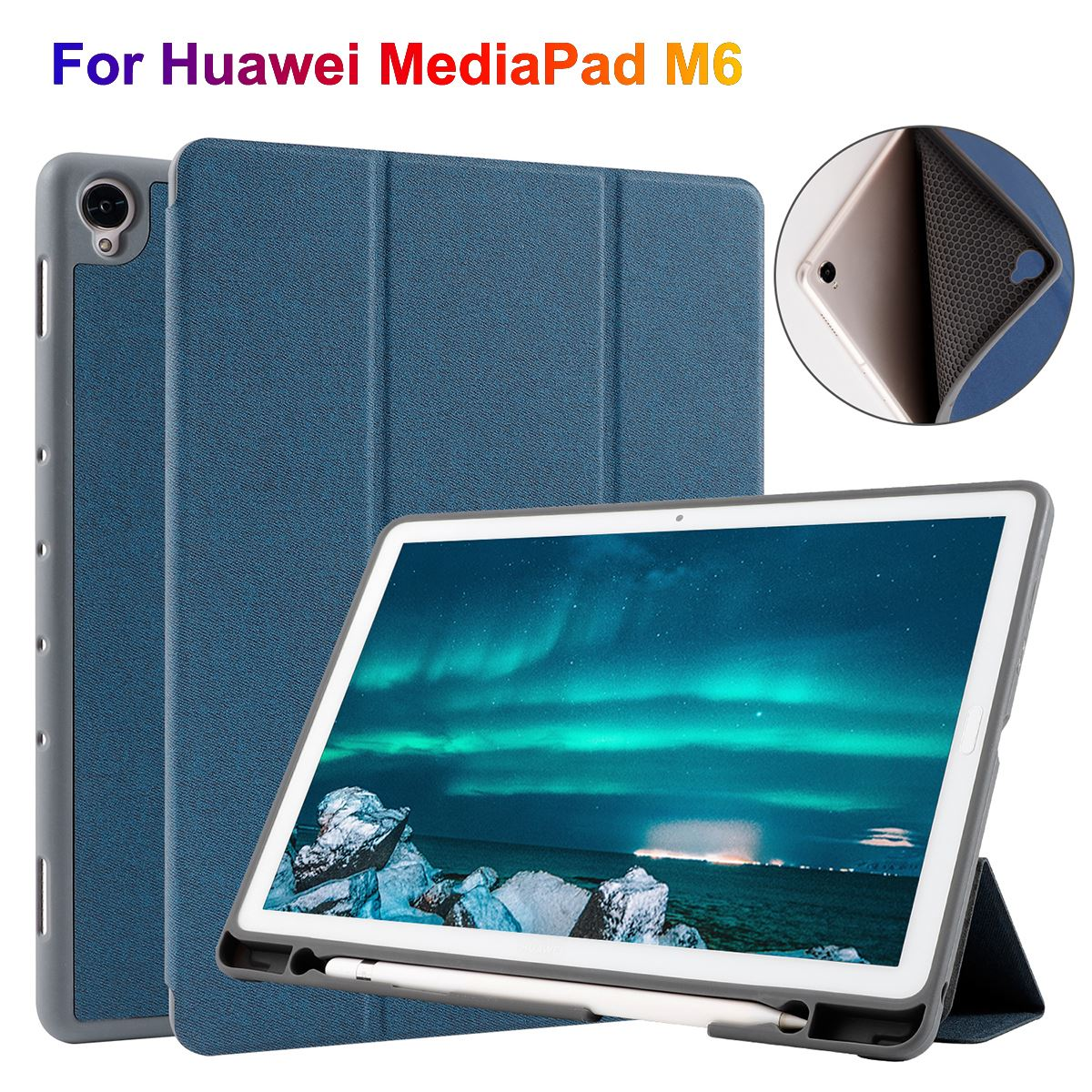 TPU Shell Leather Case Cover For Huawei MediaPad M6 10.8 Inch Tablet Protective Cover With Pen Slot For Huawei M6 10.8 Case|Tablets & e-Books Case| |  - title=