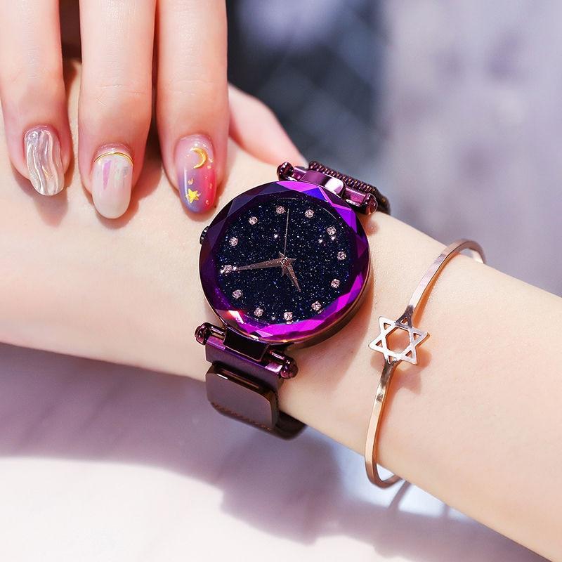 2019 nowy marka Starry Sky kobiet zegarka mody elegancki klamra magnetyczna Vibrato fioletowy złoty panie zegarek luksusowe kobiety zegarki 5