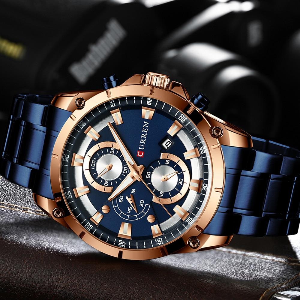 CURREN kreatywny Design zegarki mężczyźni luksusowy zegarek kwarcowy z chronograf ze stali nierdzewnej Sport zegarek męski zegar Relojes 3