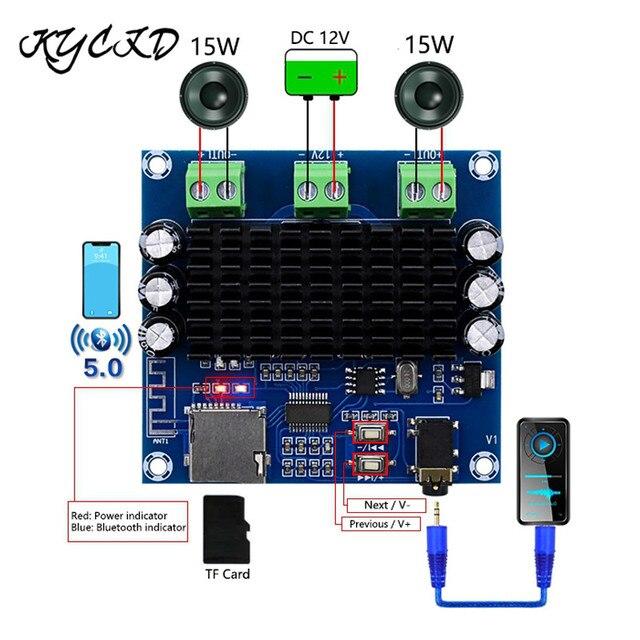 TDA7297 بلوتوث 5.0 الرقمية مكبر للصوت مجلس 15W * 2 ستيريو الصوت أمبير دعم TF بطاقة 3.5 مللي متر AUX جاك للناطقين XH A272