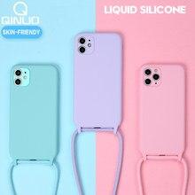 Casos de silicone líquido original para o iphone 12 11 pro xs max x xr se 2020 8 7 plus 6 doces macios capa + correia de pescoço crossbody