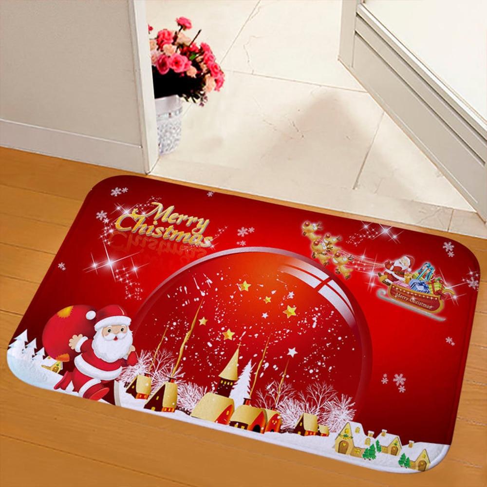Bathroom Christmas Doormat Door Floor Carpet Santa Claus Pattern Home Party Rug Rugs Carpets Home Garden