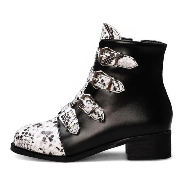 Fanyuan/обувь в стиле «панк»; Модные босоножки со змеиным узором;