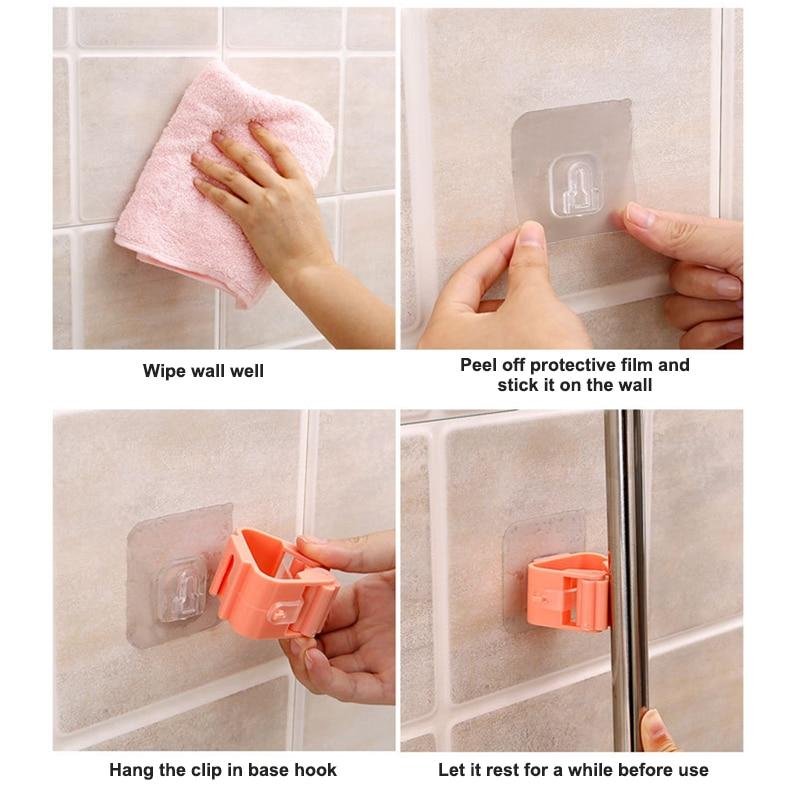 Mop Rack Wall Bathroom Broom Holder With Multipurpose And Used Behind Doors Kitchen Storage Tool 10