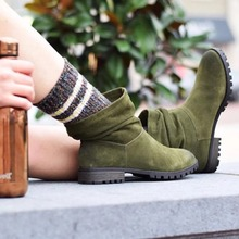 2019 New Autumn Winter Women Boots  Ladies Shoes European Suede Leather Ankle With Thick Scrub Short