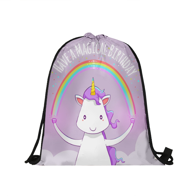 Pink Unicorn Softback Backpack Boy Girl 3D Oxford Fabric Drawstring Bag Kids Favors Gifts For Birthday Party Decoration