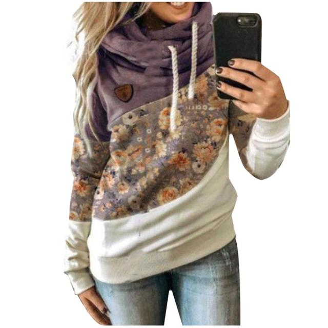 Autumn Winter  Women Cowl Neck Color Block Patchwork Fall Hoodie Sweatshirt Long Sleeve Pullover Casual Warm Hooded Tops 5XL 5