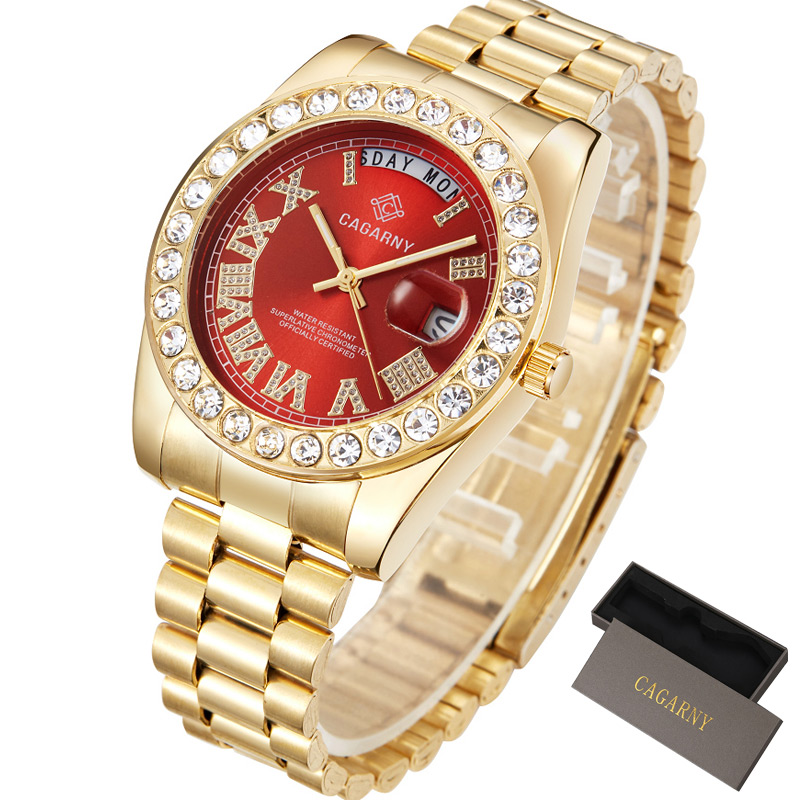 Luxury Diamond Gold Watch Men Fashion Quartz Watches Cagarny Stainless Steel day-date Waterproof relogio masculino Top Brand title=