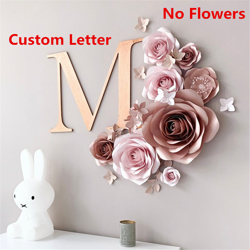 Pesonalized Nursery Wall Decor Custom Acrylic Initials Letter Baby Shower Gifts Acrylic Mirror Name Wedding Flower Decoration