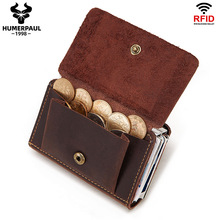 Fashion Crazy Horse Leather Men Coin Purse Leather Hasp Coin Wallet RFID Aluminium Credit Card Holder New Bank Cardholder Case