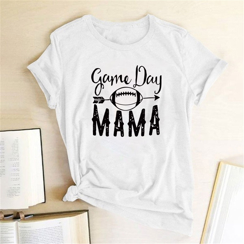 High Quality Female T-shirts Game Day Mama Women Short Sleeve O Neck Summer Harajuku Tees T Shirt Camisetas Mujer Manga Corta