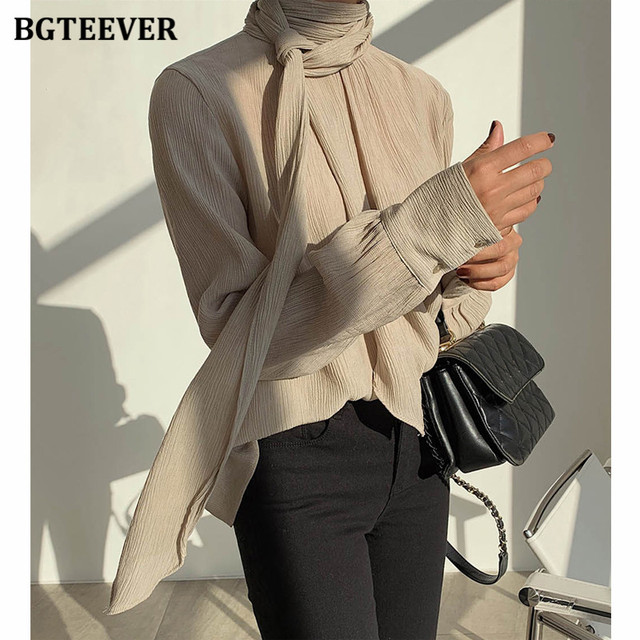Winter O-neck Solid Blouse  3