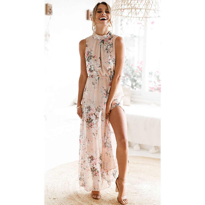 Sebelum 2019 Musim Panas Baru Fashion Wanita Tanpa Lengan Sifon Kasual Pantai Gaun Panjang Bercetak Bunga Gaun Pesta