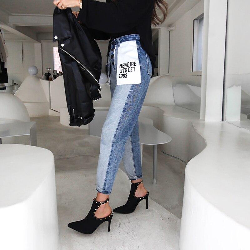 Корейские женские джинсы для мам с карманами и буквами, джинсы для женщин в стиле бойфренд джинсы с высокой талией и пуговицами, свободные п...