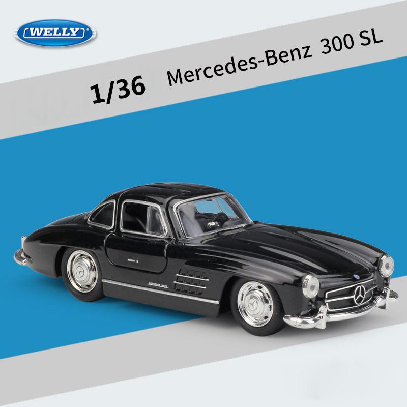 WELLY Diecast Car 1:36 Simulator Classic Mercedes-Benz 300SL Model Car Pull Back Car Metal Alloy Toy Car For Kid Gift Collection