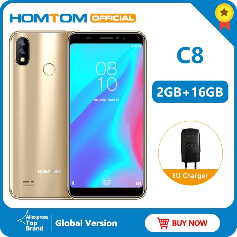 Versão Original HOMTOM C8 8.1MT6739 4G 18:9 Plena Exibição Do Telefone Móvel Android Quad Core 2GB + 16GB fingerprint + ID DO Rosto do Smartphone