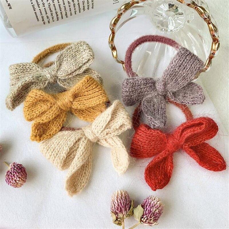 New Fashion Women Grls Knitted Bow Scrunchies Elastic Hairband Hair Accessories Girls Koean Ponytail Holder Headwear Headband