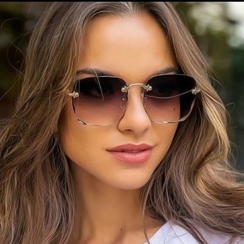2021 Square Rimless Sunglasses Women Luxury Brand Designer Summer Red Glasses Fashion Sun glasses For Men UV400 Shades Oculos