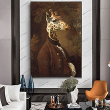 Giraffe in Dress Classical Canvas Paintings On the Wall Art Posters and Prints Portrait of Mr. Giraffe Canvas Art Wall Pictures