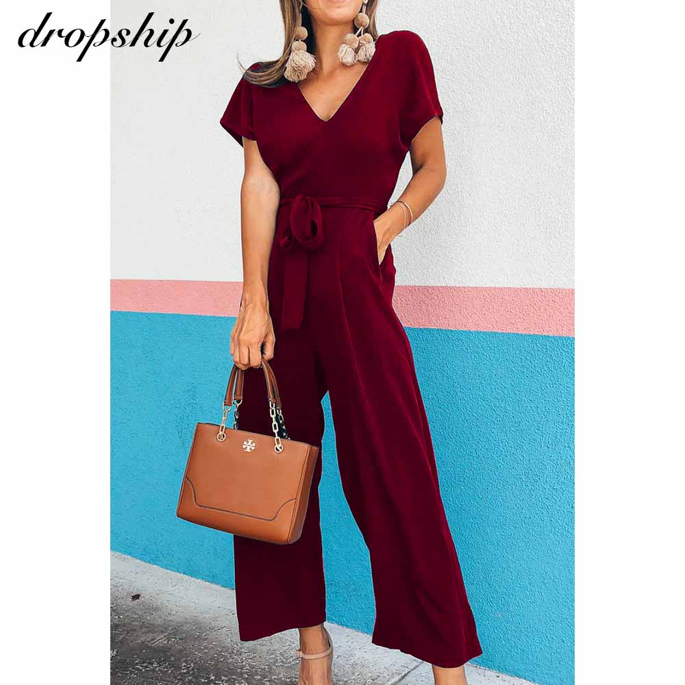Dropship Jumpsuit Women Elegant Romper Bodycon Casual Overalls For Women 2020 Summer Short Sleeve Chiffon Ladies Jumpsuits