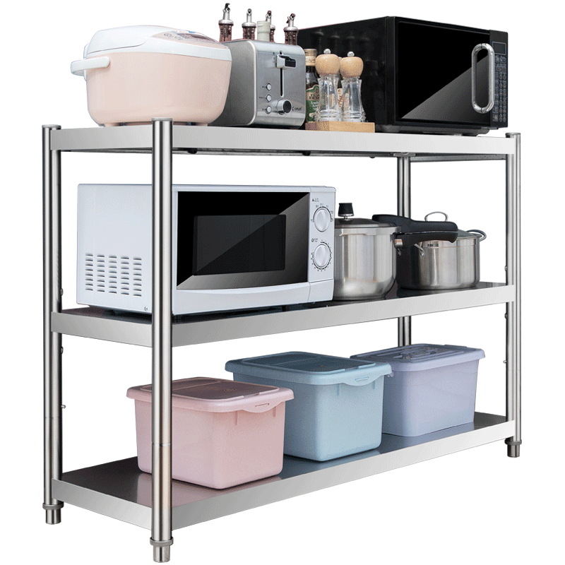 Kitchen shelf 3-storey microwave oven shelf stainless steel floor 3-storey storage and seasoning oven shelf