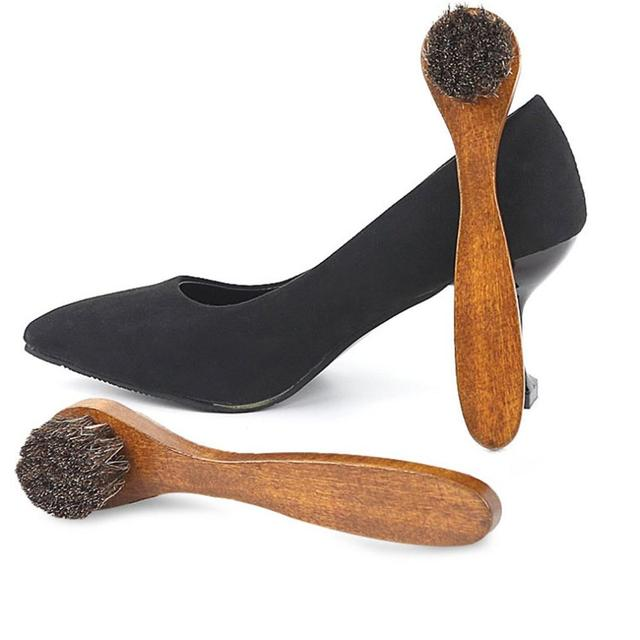 Handle Long Maple Brush Horse Hair Smooth Leather Shoes Special Cleaning Brush Shoes Brush Horse Hair 4