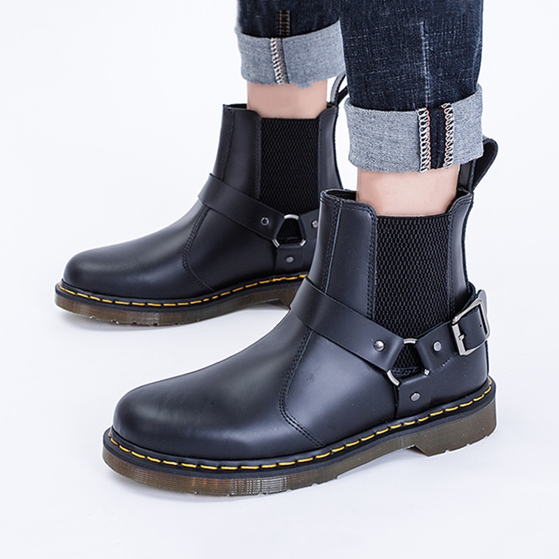 Women Chelsea Boots Classic Black Genuine Leather Shoes Women Buckle Ankle Boots Slip-on Autumn Lady Boot botines mujer 2019