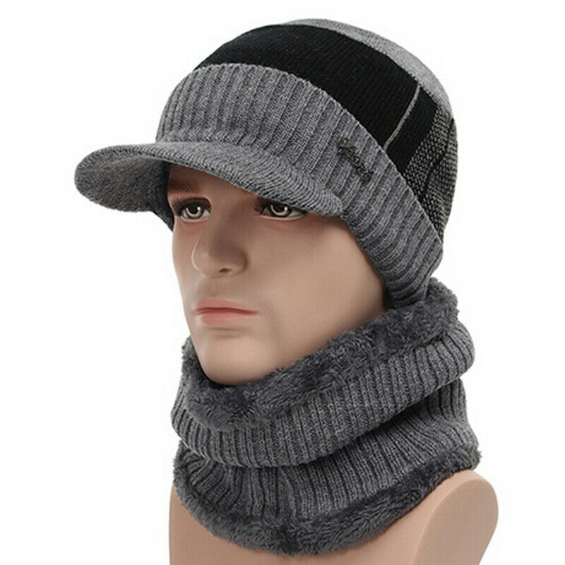 2pcs Men Outdoor Winter Beanie Hat Scarf Set Men Winter Warm Hat Knit Visor Beanie Fleece Lined Beanie With Brim Cap