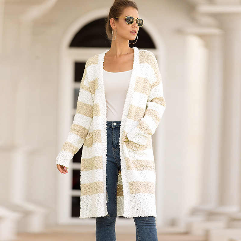 Unique Nature Womens Color Block Open Front Sherpa Cardigan Long Sleeve Fleece Fuzzy Warm Long Cardigan Sweater with Pocket