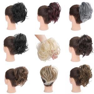 Синтетические накладные волосы, кудрявые волосы для женщин, эластичные резинки, кусок волос, хвостик, аксессуары для конского хвоста