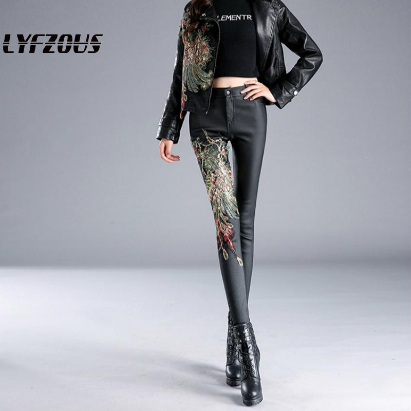 LYFZOUS New Black Pants Women Fashion Female Embroidery Phoenix Trousers Ladies High Waist Slim Long Pencil Pants Spring Autumn