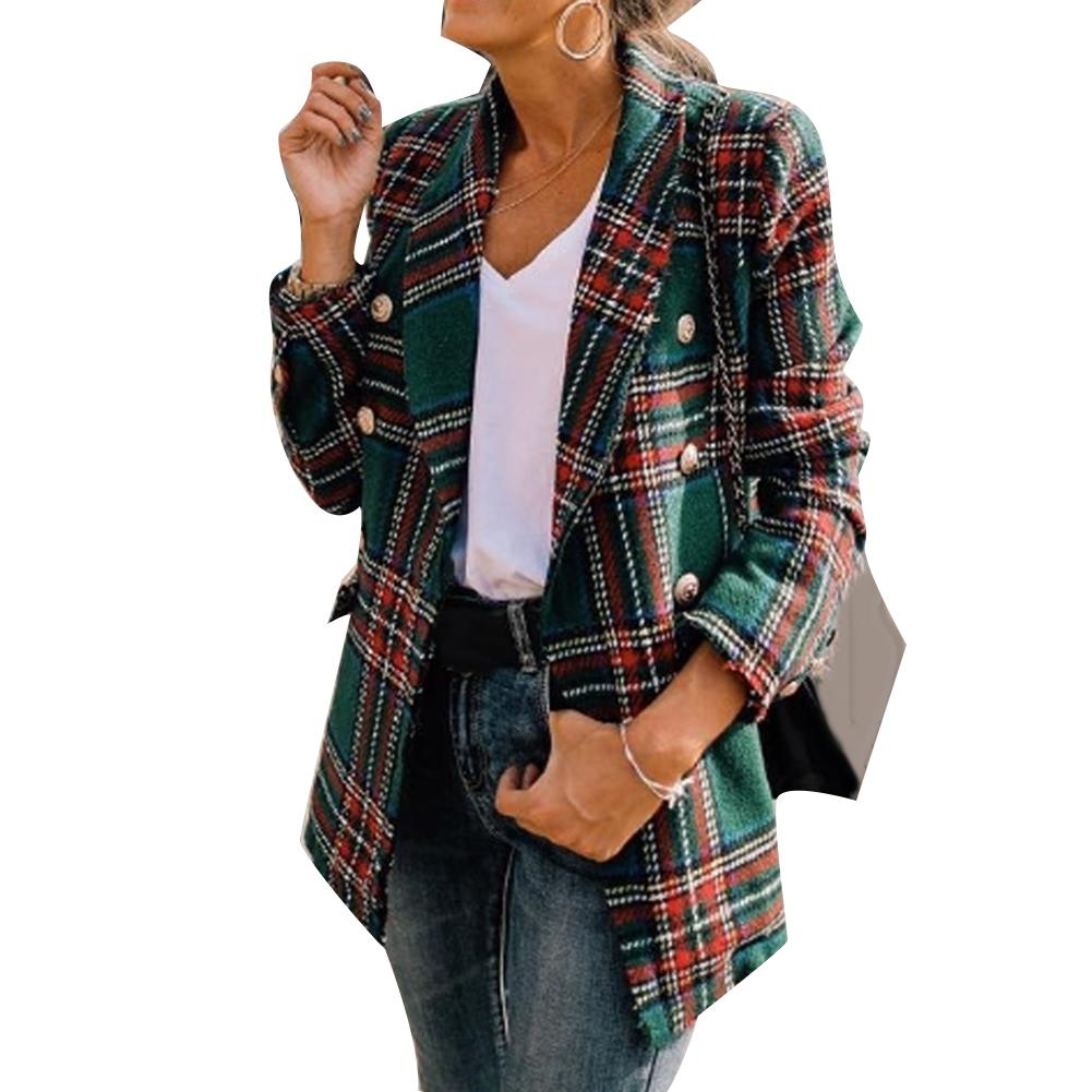 Fashion Plaid Women Blazer Coat Retro Button Lattice Jacket Blazer Female Casual Coats Green Red Chaqueta Mujer пиджак женский
