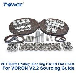 POWGE VORON V2.2 Set GT2 LL-2GT RF Offenen Zahnriemen 2GT 16T 20T pulley 110/188 schleife gürtel Welle lager 625 F695 2RS MOTION TEILE
