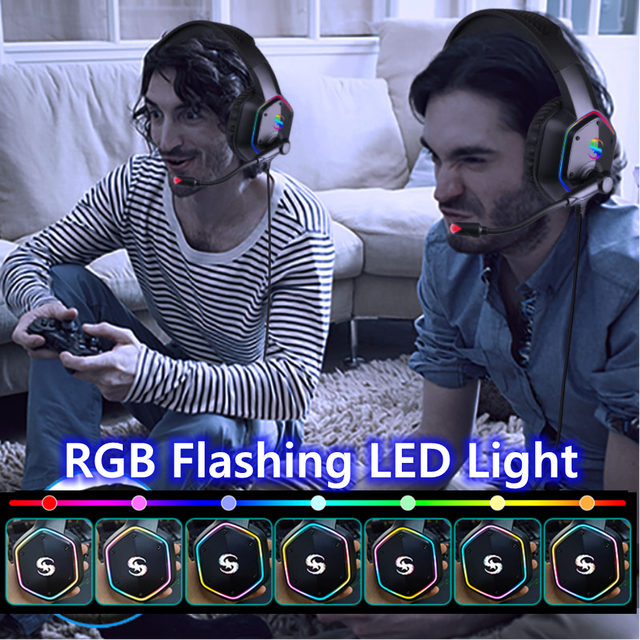 7.1 RGB LED Gaming Headset For PC PS4 PS5 Over Ear Gamer Headphones with Microphone Noise Canceling Computer Phone Gaming Helmet 2