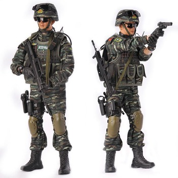 1/6 Scale Peace mission Chinese soldier police Set model joint movable multi-weapon Full suit model toys For Kids Collection Toy