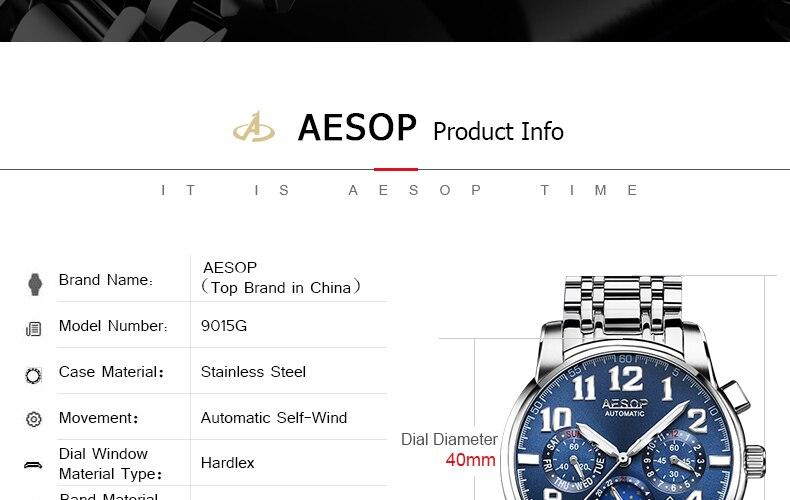 H07bc00976ee54029aa99284d61261deeC AESOP Luminous Automatic Mechanical Watch Men Luxury Brand Business Waterproof Stainless Steel Male Clock Relogio Masculino 2019