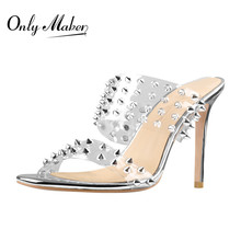 Mule Shoes Heel Onlymaker Women's Sandals Stiletto Clear Slip-On Double-Straps Summer