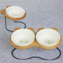 New High-end Pet Bowl Bamboo Shelf Ceramic Feeding and Drinking Bowls for Dogs Cats Feeder Accessories