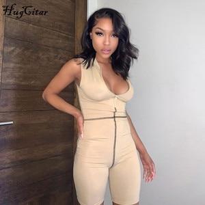 Hugcitar 2020 sem mangas zíper retalhos sexy playsuit verão moda feminina streetwear outfits macacão corpo puro