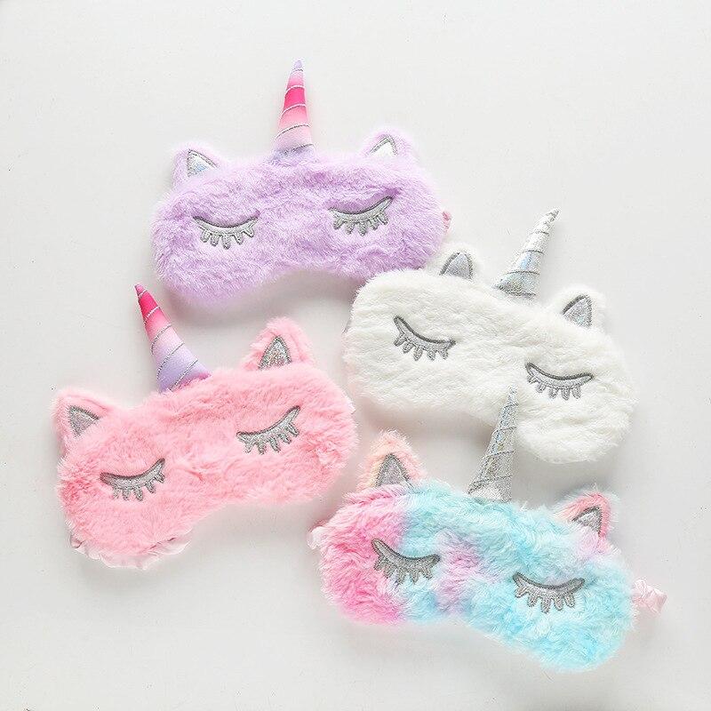 Sleep Eye Mask Kids Unicorn Plush Eye Cover Sleeping Mask Cartoon 3D Silk Travel Eye Band Shade Rest Eyepatch Eye Blindfolds