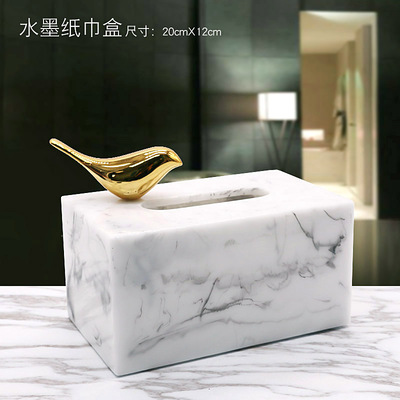 Полимерная мраморная бумажная коробка под салфетку Европейская ретро книжная коробка гостиная журнальный столик Ресторан многофункциональное бумажное полотенце ванная комната Ac