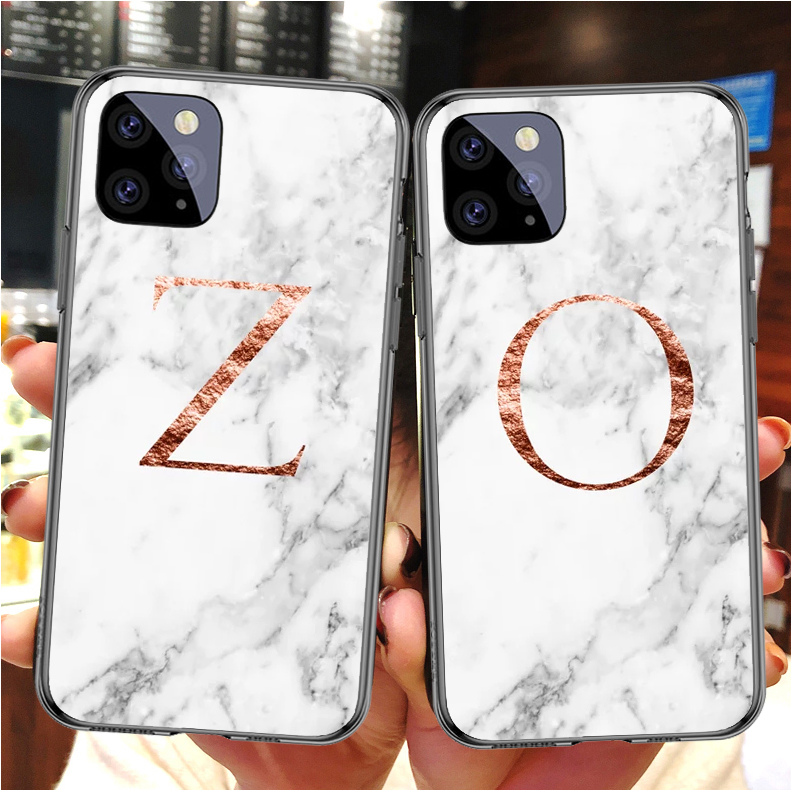 Custom initials K E N Z O <font><b>Case</b></font> <font><b>for</b></font> <font><b>iPhone</b></font> SE 5 5S 6 6SPlus rose gold white marble soft TPU <font><b>for</b></font> Samsung Galaxy A30 A50 A10 S9 S10 image