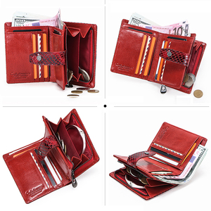 Image 3 - Contacts Small wallet Women Genuine Leather Female hasp short Coin Purses Rfid Card Holder wallets for women carteira masculina