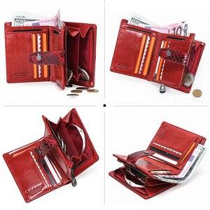 Image 3 - İletişim küçük cüzdan kadın hakiki deri kadın çile kısa bozuk para çantaları Rfid kart tutucu kadınlar için cüzdan carteira masculina