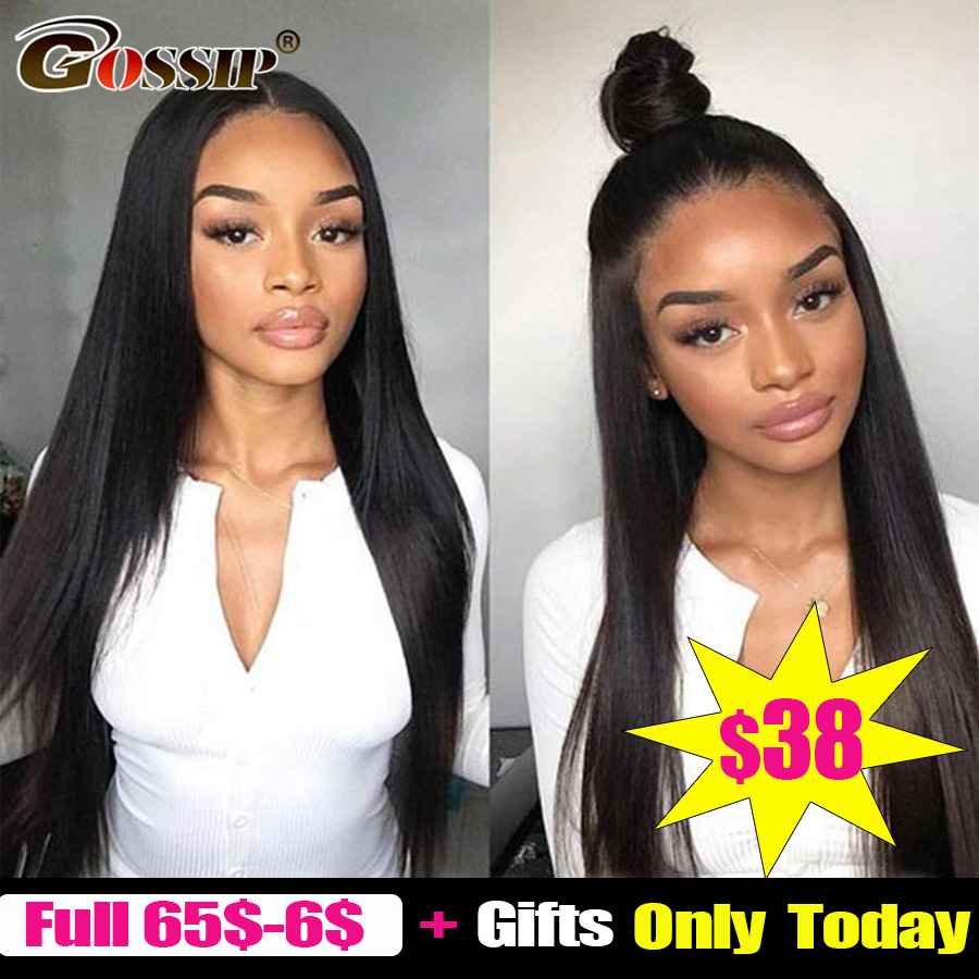 13x4 Lace Front Human Hair Wigs Straight Pre Plucked Hairline Baby Hair Gossip 150% Density Malaysian Remy Hair Lace Front Wigs