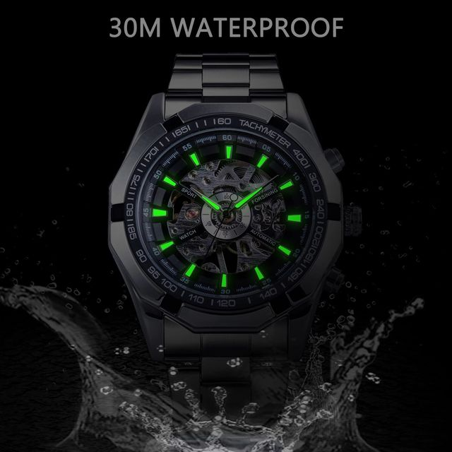 Forsining 2019 Stainless Steel Waterproof Mens Skeleton Watches Top Brand Luxury Transparent Mechanical Sport Male Wrist Watches 4