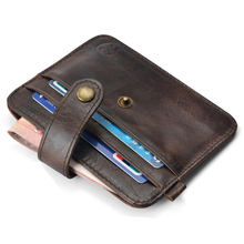 Mini Wallets Purse Bags Card-Holder Clip-Pocket Credit-Card-Case Thin Small 100%Cowhide
