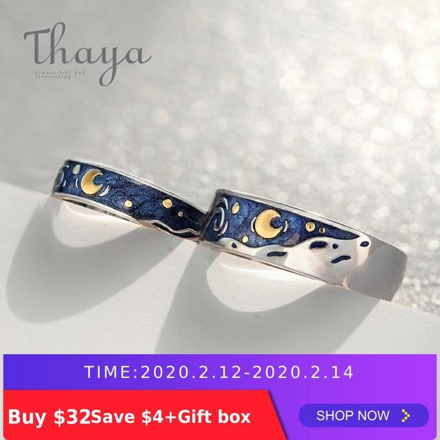 Thaya Van Gogh's Enamel couple rings Sky Star moon s925 silver Glitter Rings Engagement Ring Wedding Jewelry For Women
